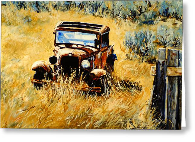 Classic Pickup Paintings Greeting Cards - Model A Truck Greeting Card by Gary Wynn