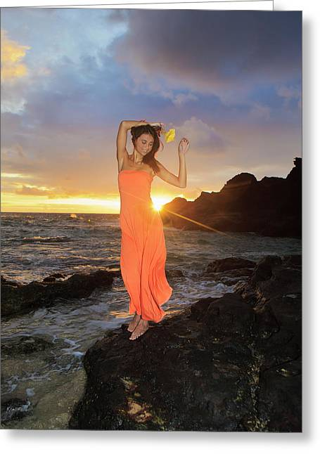 Evening Dress Greeting Cards - Model at Sunrise Greeting Card by Tomas Del Amo - Printscapes