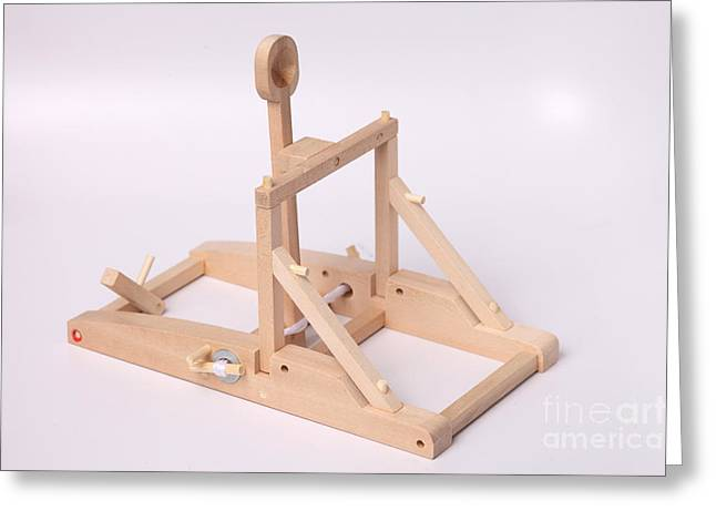 Energy Conversion Greeting Cards - Model Catapult Greeting Card by Ted Kinsman