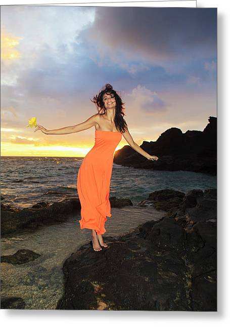 Hibiscus Coast Greeting Cards - Model in Orange Dress II Greeting Card by Tomas Del Amo - Printscapes