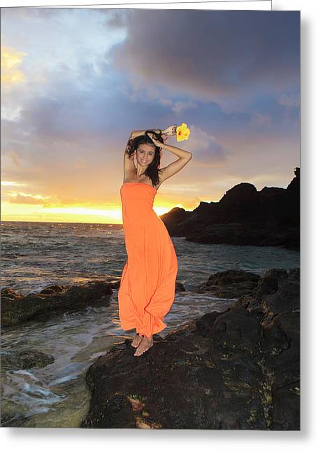 Evening Dress Greeting Cards - Model in Orange Dress Greeting Card by Tomas Del Amo - Printscapes