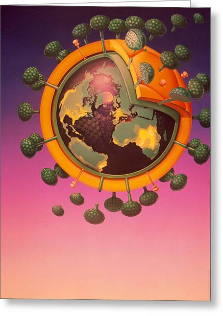 Epidemiology Greeting Cards - Model Of Aids Virus With World Map On It Greeting Card by Hans-ylrich Osterwalder