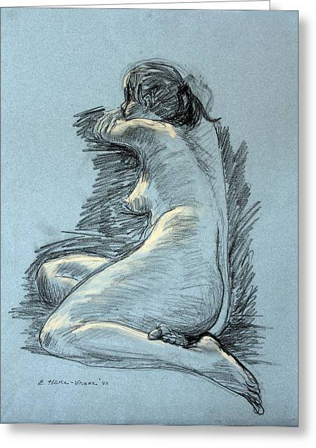 Seated Figure Drawings Greeting Cards - Model Resting Greeting Card by Ethel Vrana