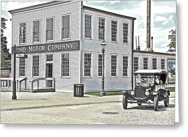 Ford Model T Car Greeting Cards - Model T Passes Ford Motor Company Greeting Card by Jack Schultz