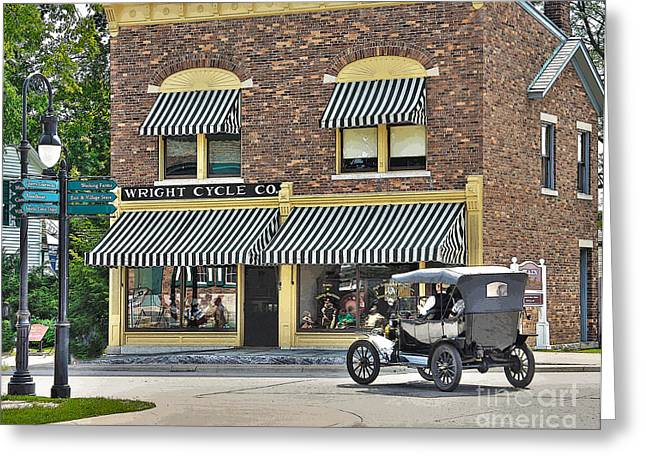 Ford Model T Car Greeting Cards - Model T Passes Wright Cycle Co. Greeting Card by Jack Schultz