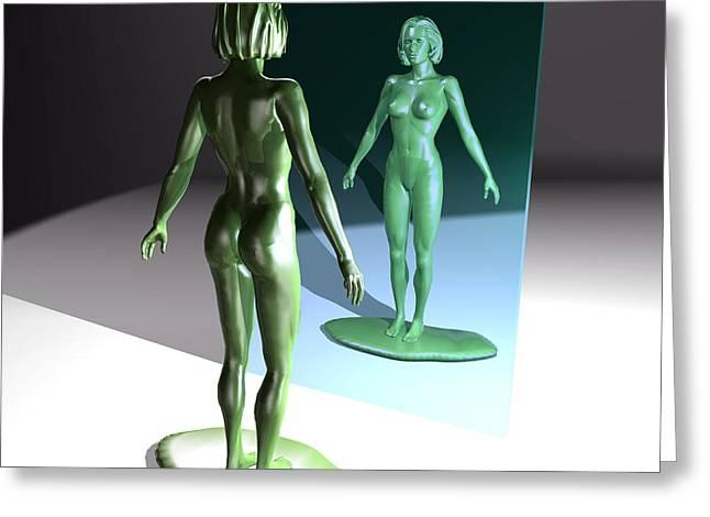 Model Woman Looking In The Mirror Greeting Card by Christian Darkin