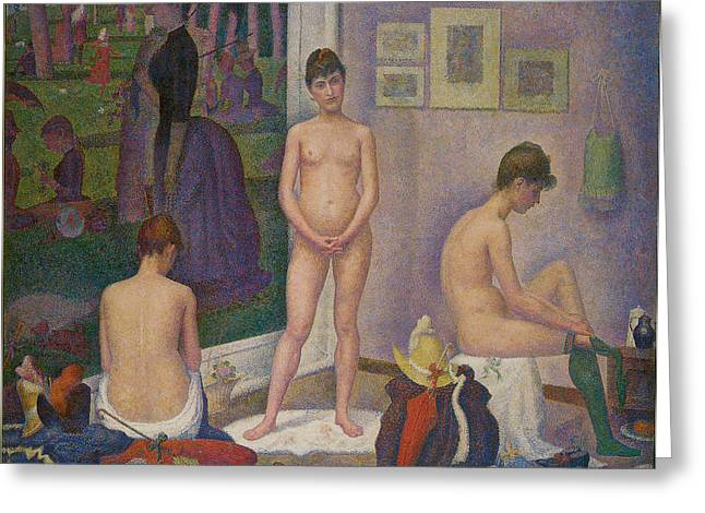 Seurat Greeting Cards - Models Greeting Card by Georges Seurat
