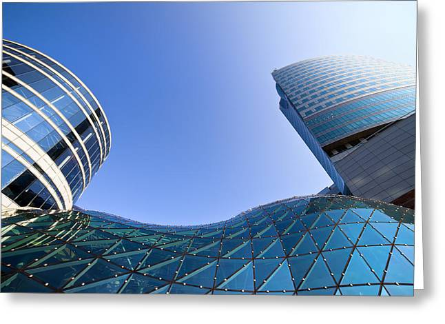 Office Space Photographs Greeting Cards - Modern Architecture in Downtown Greeting Card by Artur Bogacki