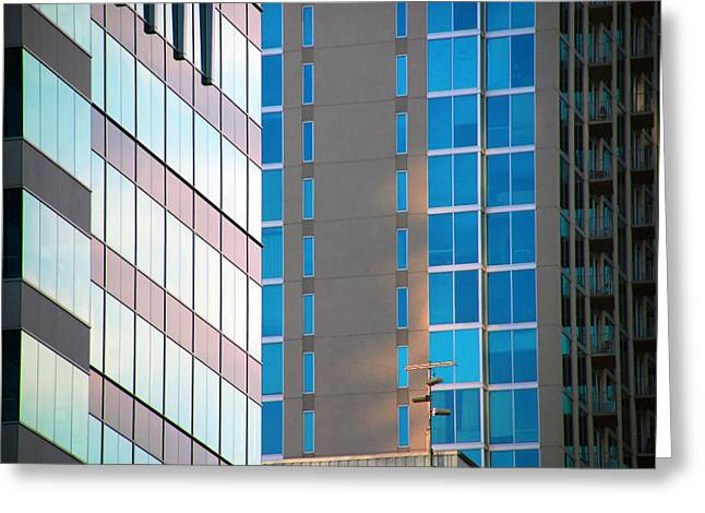 Glass Facades Greeting Cards - Modern Architecture Photography Greeting Card by Susanne Van Hulst