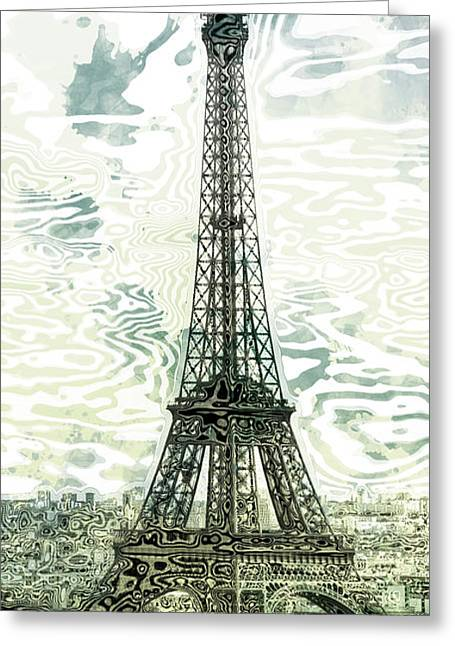 Champs Digital Art Greeting Cards - Modern-Art EIFFEL TOWER 12 Greeting Card by Melanie Viola