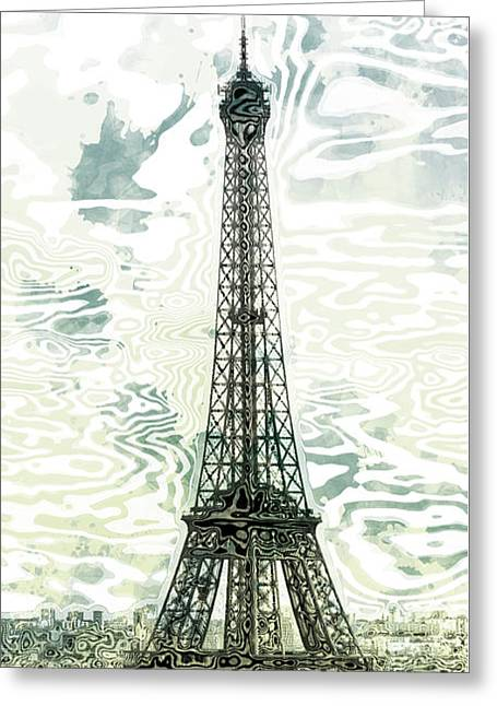 Modern Digital Art Digital Art Greeting Cards - Modern-Art EIFFEL TOWER 12 Greeting Card by Melanie Viola