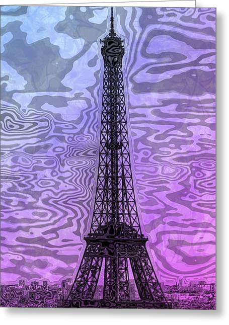 Pink Digital Greeting Cards - Modern-Art EIFFEL TOWER 14 Greeting Card by Melanie Viola