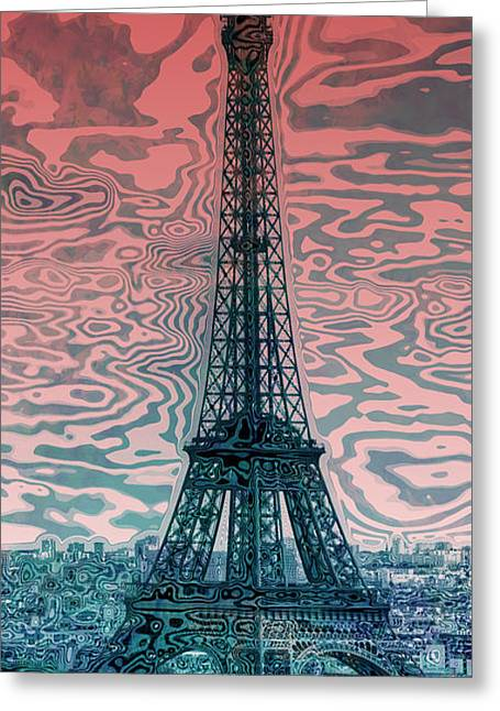 Champs Digital Art Greeting Cards - Modern-Art EIFFEL TOWER 17 Greeting Card by Melanie Viola