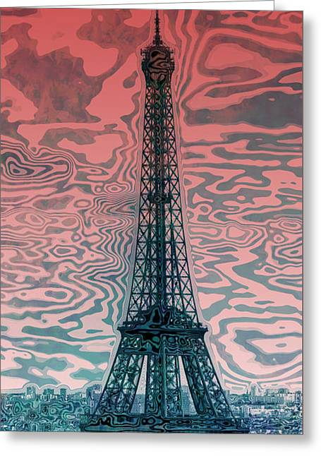 Modern Digital Art Digital Art Greeting Cards - Modern-Art EIFFEL TOWER 17 Greeting Card by Melanie Viola