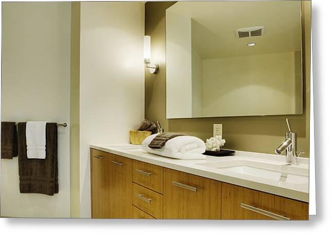 Modern Bathroom Interior Greeting Card by Andersen Ross