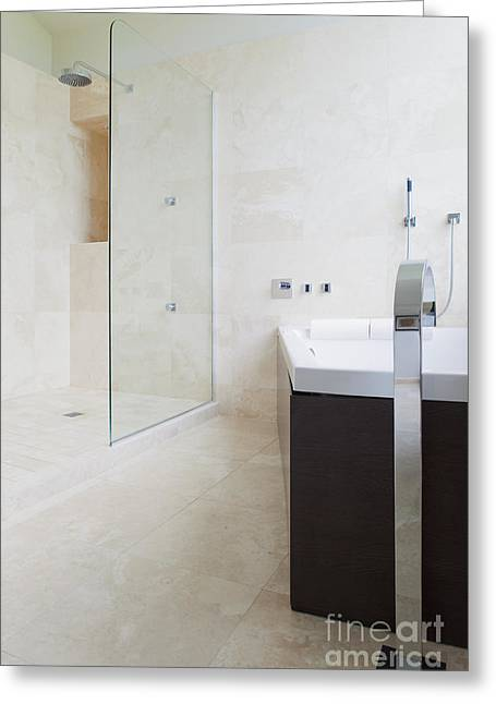 Domestic Bathroom Greeting Cards - Modern Bathroom Interior Greeting Card by Inti St. Clair