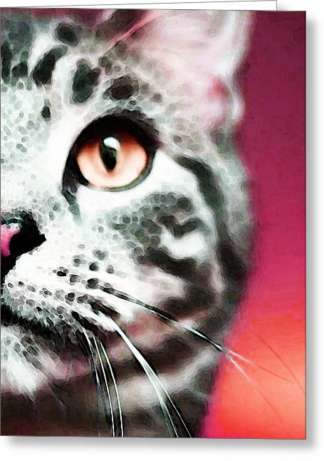 Animal Lovers Greeting Cards - Modern Cat Art - Zebra Greeting Card by Sharon Cummings