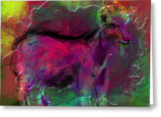 Goat Digital Greeting Cards - Modern Cave Drawing on Computer Greeting Card by James Thomas