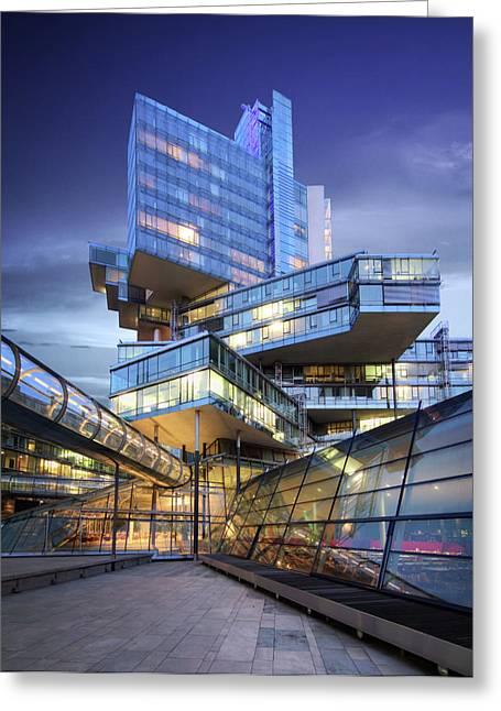 Hightower Greeting Cards - Modern City Lights Greeting Card by Marc Huebner