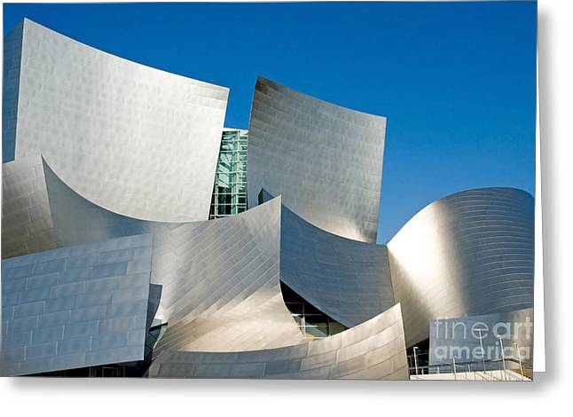 Curvilinear Greeting Cards - Modern Disney Concert Hall in Los Angeles California Greeting Card by ELITE IMAGE photography By Chad McDermott