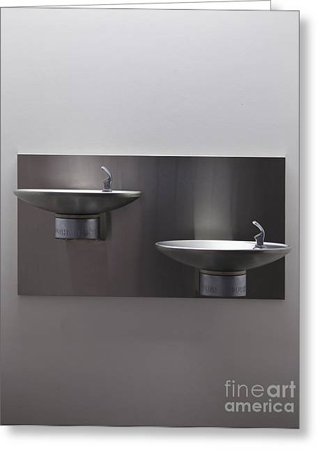 Stainless Steel Greeting Cards - Modern Drinking Fountains Greeting Card by Paul Edmondson