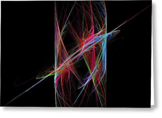 Modern Art Greeting Cards - Modern Fractal Art Blue Red and Green Cylindrical Pattern On Black Greeting Card by Keith Webber Jr