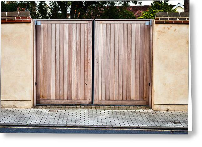 Rural Schools Greeting Cards - Modern gate Greeting Card by Tom Gowanlock