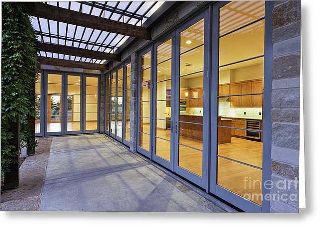 Leadership In Energy And Environmental Design Greeting Cards - Modern Home Kitchen Through Glass Doors Greeting Card by Jeremy Woodhouse