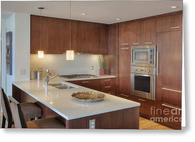 Faucet Greeting Cards - Modern Kitchen Interior Greeting Card by Andersen Ross