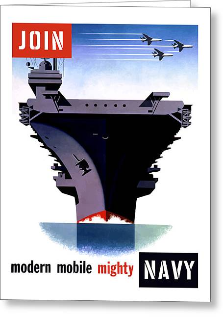 Plane Art Greeting Cards - Modern Mobile Mighty Navy Greeting Card by War Is Hell Store