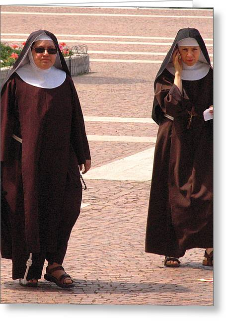 Nuns Greeting Cards - Modern Nuns Ready for Business Greeting Card by Don Wolf