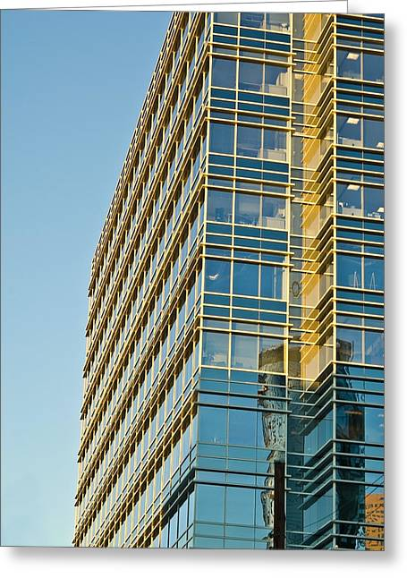 Susan Leggett Greeting Cards - Modern Office Building Windows Greeting Card by Susan Leggett