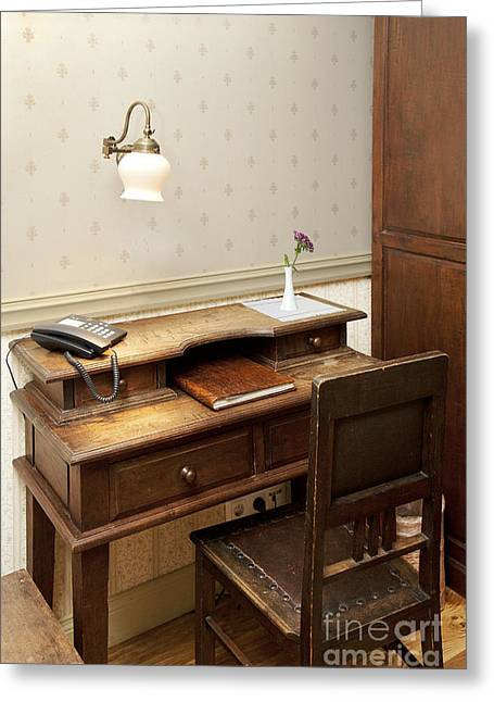 Ledger; Book Photographs Greeting Cards - Modern Phone on an Old Fashioned Desk Greeting Card by Jaak Nilson
