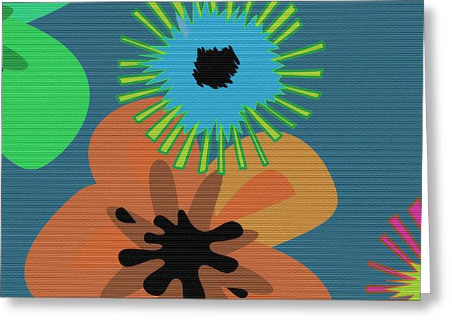 Over Sized Greeting Cards - Modern Pop Floral  Greeting Card by Ruth Palmer
