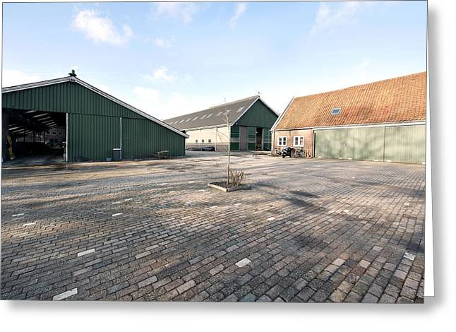 Barn Yard Greeting Cards - Modern Stables Barn And Farm House Greeting Card by Corepics
