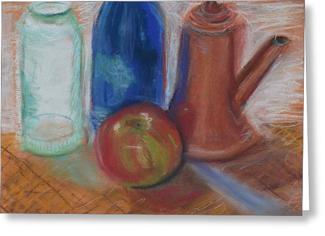 Wine-bottle Pastels Greeting Cards - Modern Still Life Greeting Card by Laura Sullivan