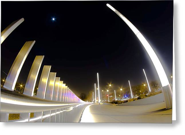 Stainless Steel Greeting Cards - Modern Street Lighting Greeting Card by Sven Brogren