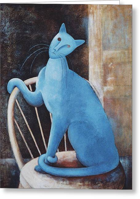 Best Sellers -  - Pictures Of Cats Greeting Cards - Modiglianis Cat Greeting Card by Eve Riser Roberts