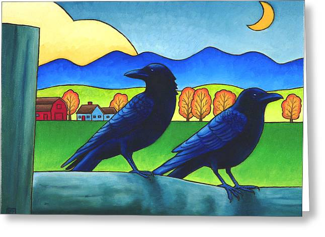 Crows Paintings Greeting Cards - Moe and Joe Crow Greeting Card by Stacey Neumiller