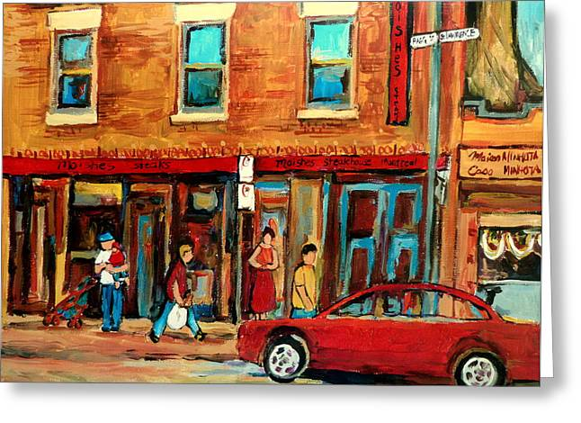 Out-of-date Greeting Cards - Moishes Steakhouse On The Main By Montreal Streetscene Painter Carole  Spandau  Greeting Card by Carole Spandau