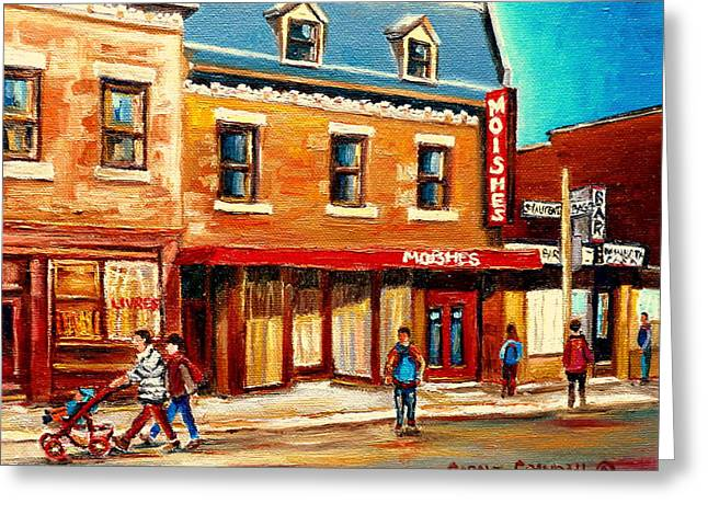 Resto Cafes Greeting Cards - Moishes The Place For Steaks Greeting Card by Carole Spandau
