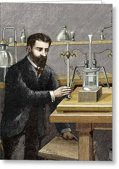 Coolant Greeting Cards - Moissan Isolating Fluorine, 1886 Greeting Card by Sheila Terry