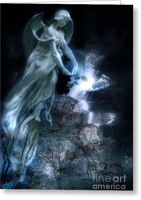 Night Angel Greeting Cards - MoistedSoul NightAngelt Greeting Card by Rosa Cobos
