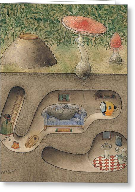 Homes Drawings Greeting Cards - Mole Greeting Card by Kestutis Kasparavicius