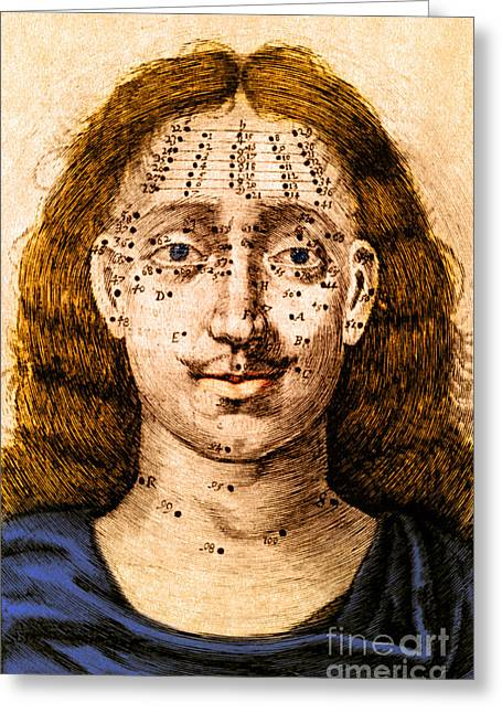 Facial Mole Greeting Cards - Mole Location And Divination Greeting Card by Science Source