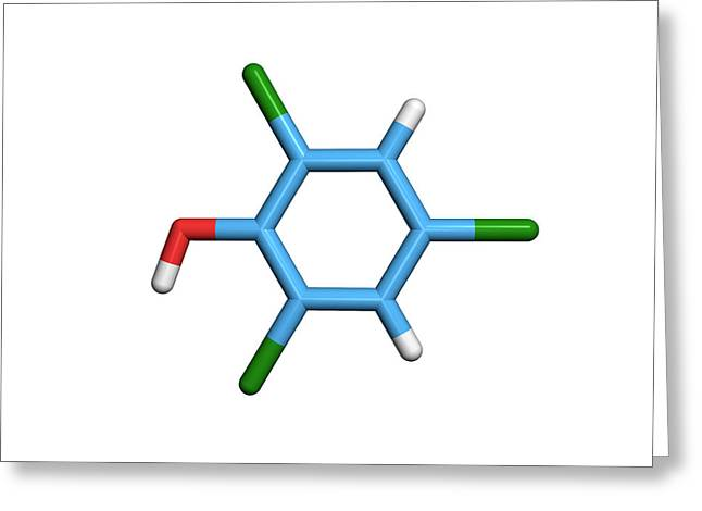 Molecule Of A Component Of Tcp Antiseptic Greeting Card by Dr Tim Evans