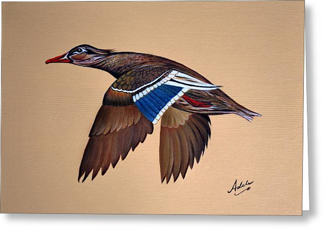 Mallard Paintings Greeting Cards - Molly Greeting Card by Adele Moscaritolo