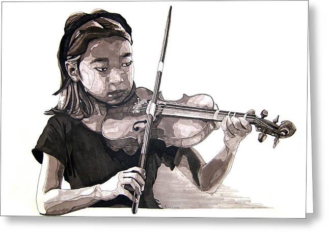 Grayscale Drawings Greeting Cards - Molly and the Violin Greeting Card by Tyler Auman