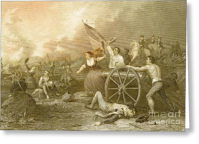 Redcoat Greeting Cards - Molly Pitcher At The Battle Of Monmouth Greeting Card by Photo Researchers
