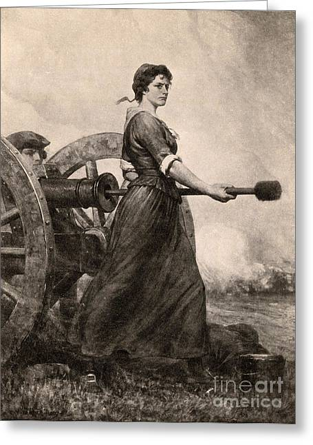 Continental Army Victory Greeting Cards - Molly Pitcher At The Battle Greeting Card by Photo Researchers